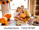 what s inside  blonde curious... | Shutterstock . vector #710170789