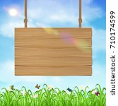 hang wood board sign with grass ... | Shutterstock .eps vector #710174599