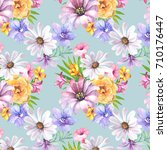 Stock photo flowers pattern watercolor 710176447