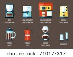 vector set of various coffee... | Shutterstock .eps vector #710177317