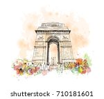 watercolor sketch of india gate ... | Shutterstock .eps vector #710181601