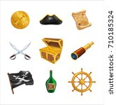 set of pirate icons as golden...