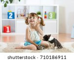 Cute Child Girl Feeding His Pe...