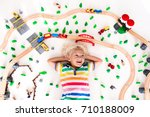 kids play with toy train... | Shutterstock . vector #710188009