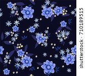 trendy big and small  floral... | Shutterstock .eps vector #710189515
