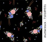 trendy  small floral pattern ... | Shutterstock .eps vector #710189551