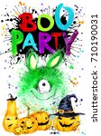 boo party. halloween greeting... | Shutterstock . vector #710190031