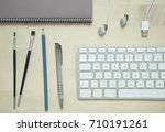 computer keyboard pen pencil... | Shutterstock . vector #710191261