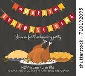 happy friendsgiving invitation... | Shutterstock .eps vector #710192095
