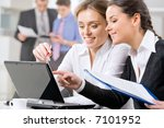 business woman showing her... | Shutterstock . vector #7101952