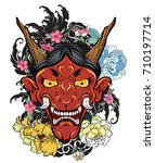 hand drawn oni mask with cherry ... | Shutterstock .eps vector #710197714