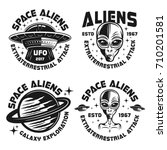 set of four ufo and aliens... | Shutterstock .eps vector #710201581