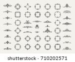 huge rosette wicker border... | Shutterstock . vector #710202571