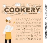 cookery with food icons set... | Shutterstock .eps vector #710210989