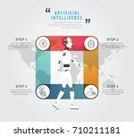 artificial intelligence robot...   Shutterstock .eps vector #710211181