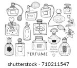 hand drawn perfume bottles.... | Shutterstock .eps vector #710211547