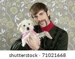 geek retro man holding dog... | Shutterstock . vector #71021668