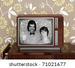 wood old tv nerd silly couple... | Shutterstock . vector #71021677