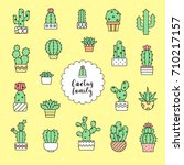 cactus icon set  | Shutterstock .eps vector #710217157