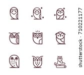 Stock vector owl outline icons collection vector set of outline owls 710221177