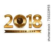 2018 new year golden letters... | Shutterstock .eps vector #710223955