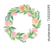 peony flowers blooming wreath... | Shutterstock . vector #710232595