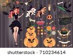 halloween vector set. beautiful ... | Shutterstock .eps vector #710234614