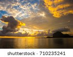 fabulous view of the sunset in... | Shutterstock . vector #710235241