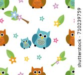 seamless tiling cute and... | Shutterstock .eps vector #710239759