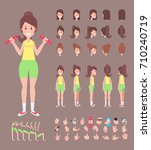front  side  back view animated ... | Shutterstock .eps vector #710240719