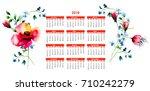 2018 calendar with original... | Shutterstock . vector #710242279