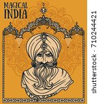portrait of indian man in... | Shutterstock .eps vector #710244421