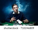 man is playing poker. with a...   Shutterstock . vector #710246809