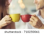closed up hands of couple... | Shutterstock . vector #710250061