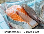 fresh fishes with shaved ice.... | Shutterstock . vector #710261125