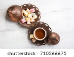 traditional turkish coffee and... | Shutterstock . vector #710266675