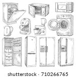 hand drawn set of different... | Shutterstock .eps vector #710266765
