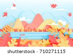 the forest and mountain with... | Shutterstock .eps vector #710271115