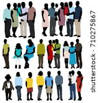 silhouette people in colored... | Shutterstock .eps vector #710275867