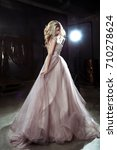 beautiful blonde young bride... | Shutterstock . vector #710278624