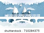 trains and beautiful scenery... | Shutterstock .eps vector #710284375