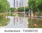 high water rising along allen... | Shutterstock . vector #710300725