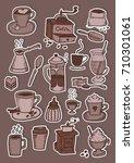 hand drawn brown coffee... | Shutterstock .eps vector #710301061