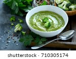 broccoli cream soup  vegan ... | Shutterstock . vector #710305174