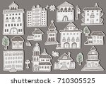hand drawn set of house and... | Shutterstock .eps vector #710305525