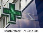 pharmacy neon sign. green  ross ...   Shutterstock . vector #710315281