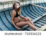 vapor concept sexy young woman... | Shutterstock . vector #710316121