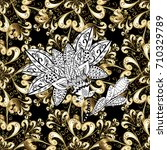 seamless element woodcarving.... | Shutterstock .eps vector #710329789