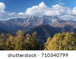 autumn landscape. peak ushba in ...   Shutterstock . vector #710340799