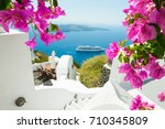 white architecture on santorini ... | Shutterstock . vector #710345809